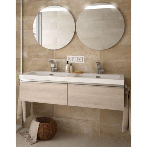 Meuble de salle de bains suspendu 120 cm couleur naturelle avec miroir |  Naturelle