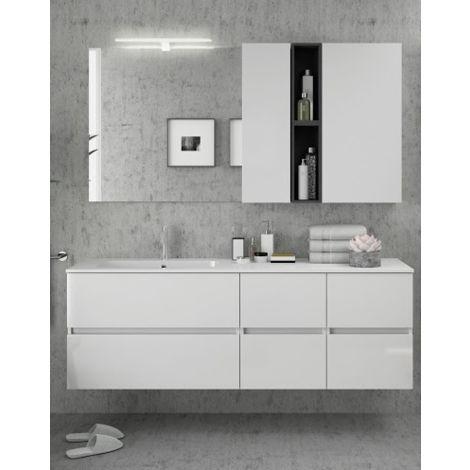 Meuble de salle de bains suspendu 160 cm blanc brillant avec miroir | Blanc  brillant
