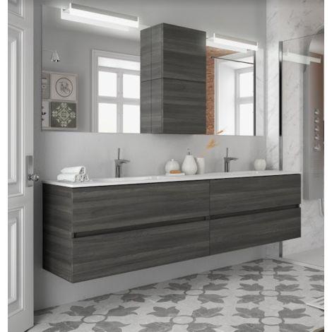 Meuble de salle de bains suspendu 200 cm Alsace avec miroir | Colore