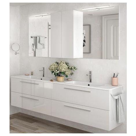 Meuble de salle de bains suspendu 200 cm blanc brillant avec miroir | Blanc  brillant