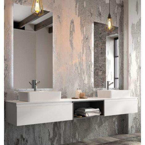 Meuble de salle de bains suspendu 220 cm blanc brillant avec miroir | Blanc  brillant