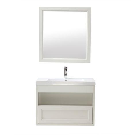 Meuble de salle de bains suspendu avec vasque, miroir rangement RIVER - Blanc