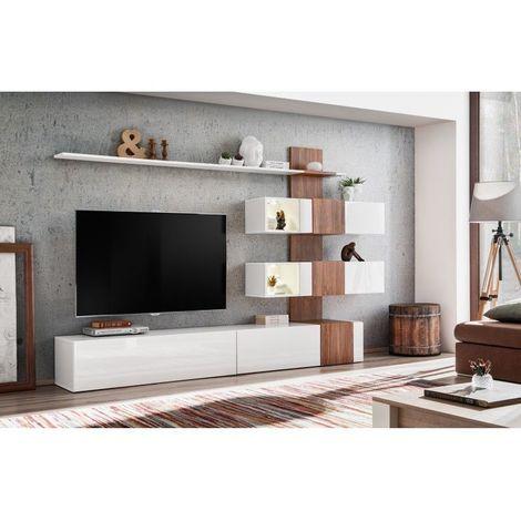 Meuble de salon complet, meuble tv QUIZZ. Composition murale moderne et design. LED incluses - Blanc