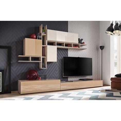 Meuble De Salon Complet Meuble Tv Turin Composition Murale Tricolore Moderne Et Design