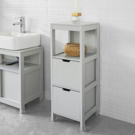 Meuble Demi-Colonne Meuble Bas de Salle de Bain Armoire Toilette- 1 étage et 2 tiroirs -Gris Clair,SoBuy® FRG127-HG