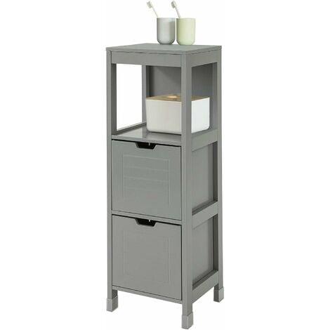 Meuble Demi-Colonne Meuble Bas de Salle de Bain Armoire Toilette- 1 étage et 2 tiroirs -Gris,SoBuy® FRG127-SG