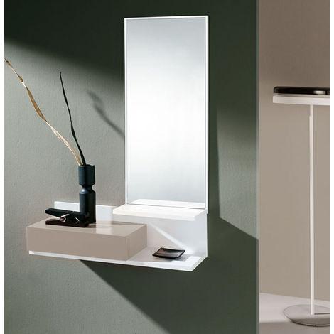 Meuble d'entrée en bois laqué blanc avec une caisse laquée vison - Dim : L 81 x P 29 x H 122 cm - PEGANE -