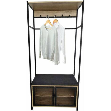 Meuble d'entrée vestiaire GASPARD avec banc, coussin et étagères à chaussures, 5 crochets, cadre en métal, Hauteur 172 cm