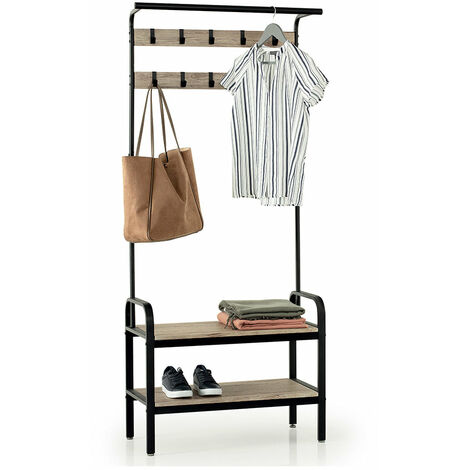 Meuble d'entrée vestiaire MARIUS avec banc, étagères à chaussures, 10 crochets, cadre en métal, Hauteur 170 cm