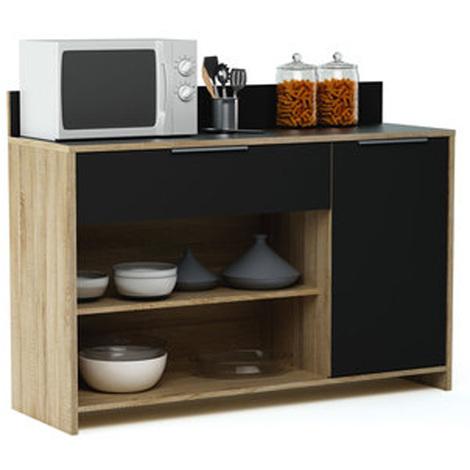 Meuble desserte en bois 1 porte, 1 tiroir et 2 niches, L123 x H85 x P40 cm