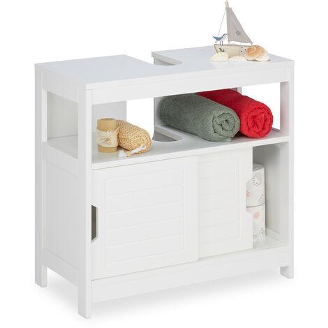 , Meuble Dessous de Lavabo, 2 compartiments, portes coulissantes, Espace Siphon, 60,5x60x30cm, blanc