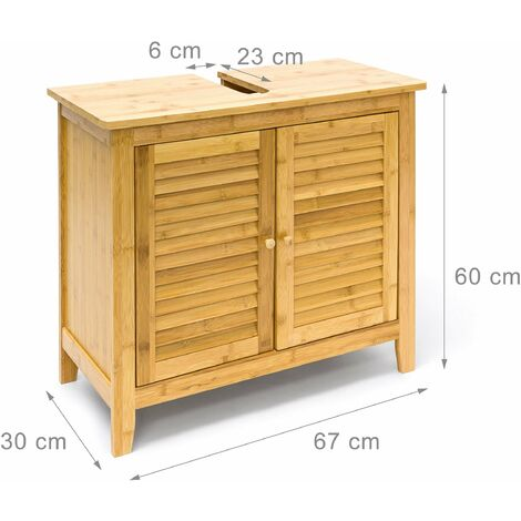 Meuble dessous de lavabo évier bambou avec deux portes