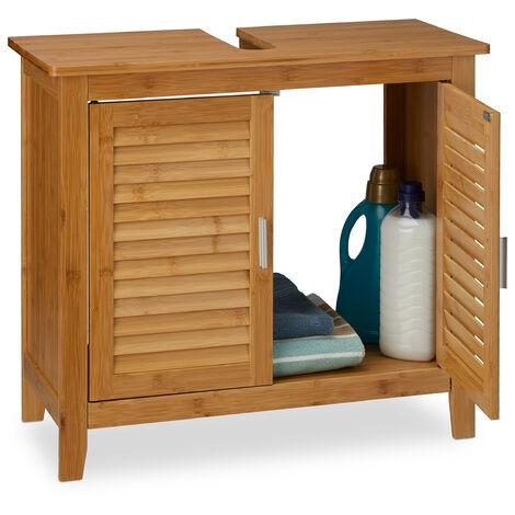 Meuble dessous de lavabo LAMELL pour la salle de bain cuisine 2 Portes en bambou Sous-lavabo rangement serviettes accessoires H x l x P: 60 x 67 x 30 cm armoire dessous évier Bois, nature
