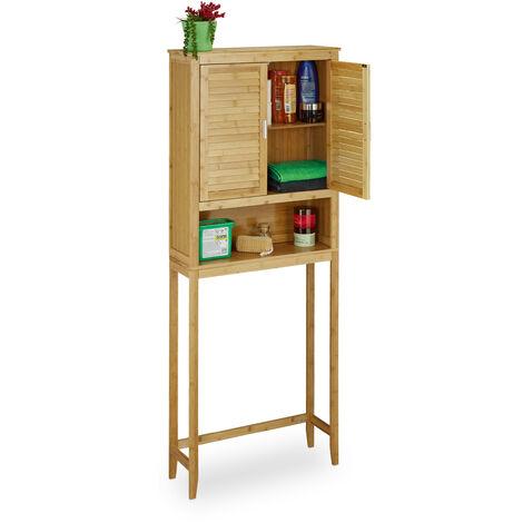 Meuble dessus machine à laver bambou salle de bain LAMELL armoire colonne étagère avec portes HxlxP: 170 x 70 x 22,5 cm bois, nature
