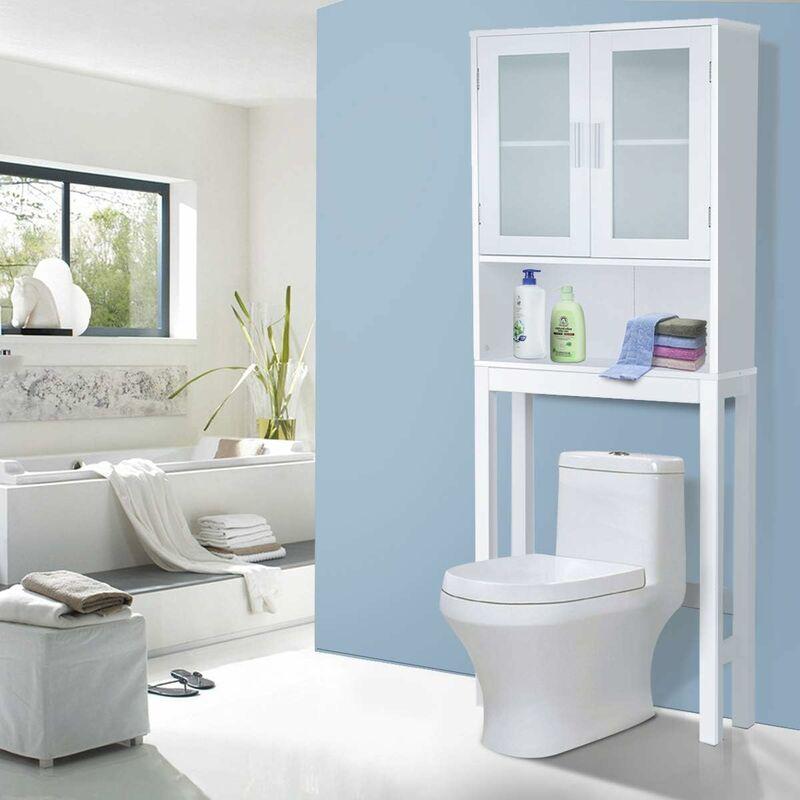 Meuble dessus toilettes WC 2 portes Armoire de toilette Étagère de ...