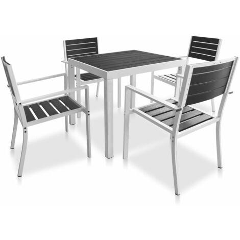 Meuble d'extérieur 5 pcs dessus de table en WPC Aluminium Noir
