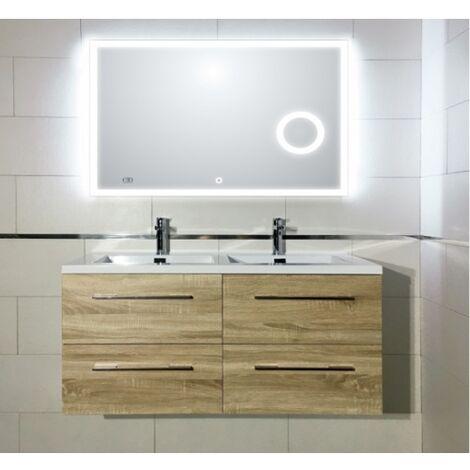 Meuble double vasque 117 Jupiter 2.0 Bois Clair miroir Lite