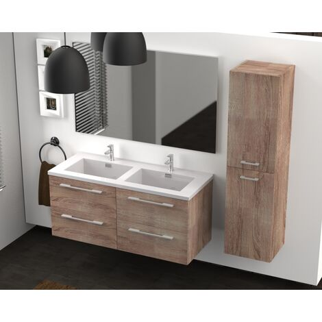 Meuble double vasque 117 Jupiter 2.0 Bois Foncé miroir Slim