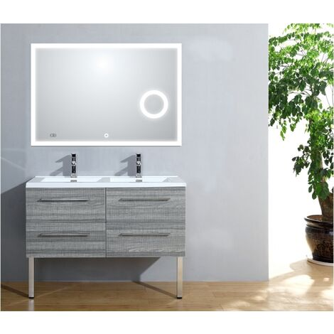 Meuble double vasque 117 Jupiter 2.0 Bois Gris Scié miroir Lite