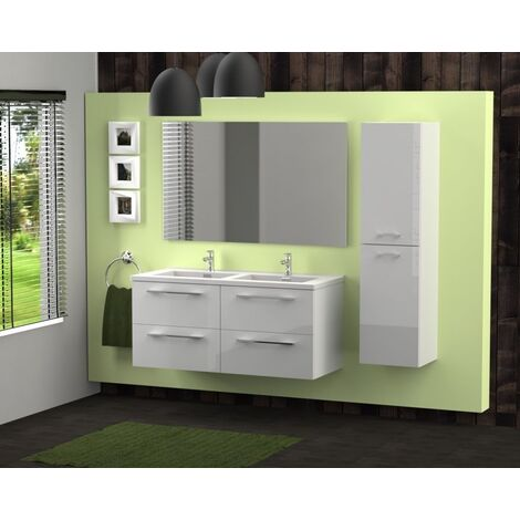 Meuble double vasque 117 Saturn 2.0 Blanc Brillant SANS miroir