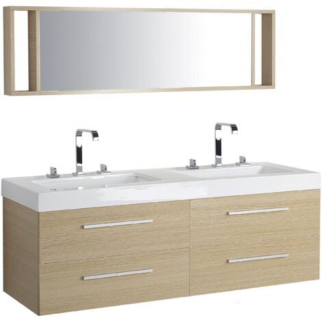 Meuble double vasque à tiroirs miroir inclus beige MALAGA