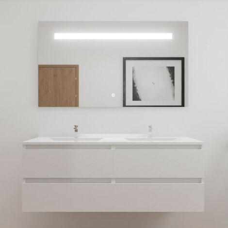 Meuble double vasque ARLEQUIN 140x55 cm avec plan vasque et miroir ELEGANCE - Coloris au choix | blanc - blanc