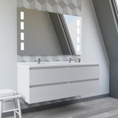Meuble double vasque ARLEQUIN 140x55 cm avec plan vasque et miroir Prestige - Coloris au choix