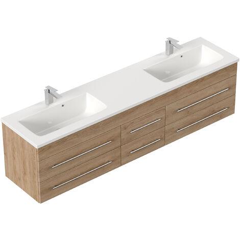 Meuble double vasque Colossos 200 décor chêne