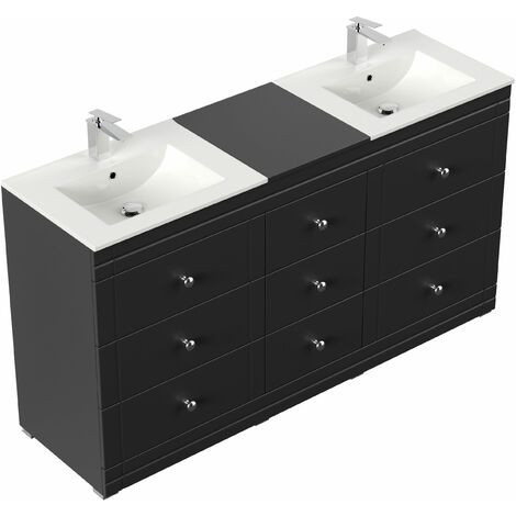 Meuble double vasque Cosmo classique noir satiné à poser