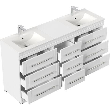 Meuble double vasque Cosmo moderne blanc brillant à poser