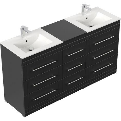 Meuble double vasque Cosmo moderne noir satiné à poser