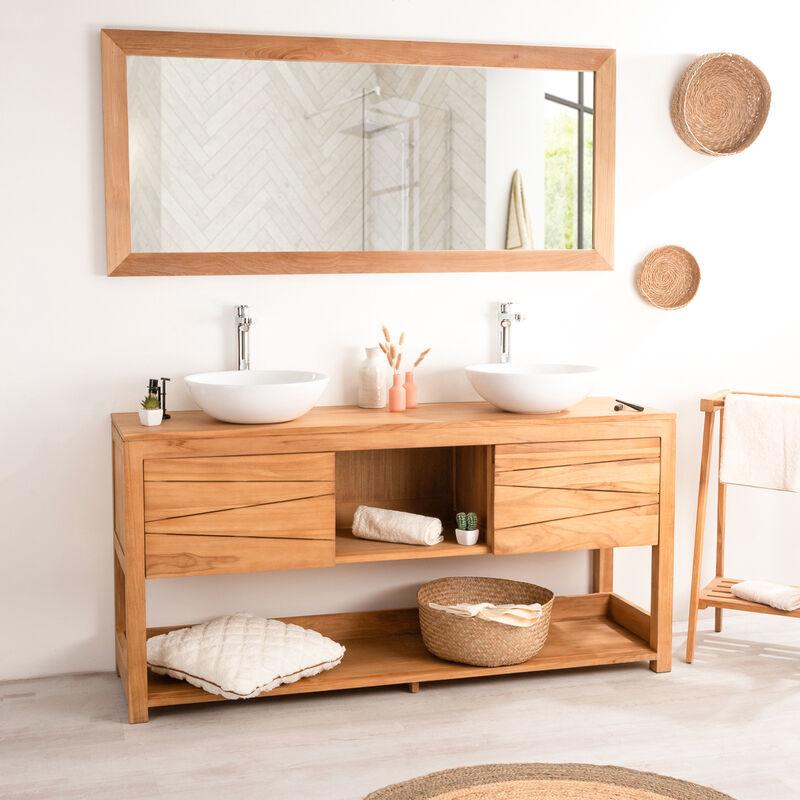 Meuble double vasque de salle de bain en teck cosy 160cm - 590