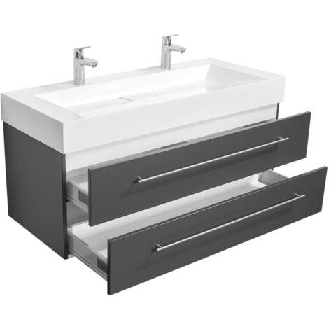Meuble double vasque Design 1200 anthracite satiné