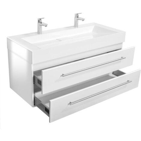 Meuble double vasque Design 1200 blanc brillant