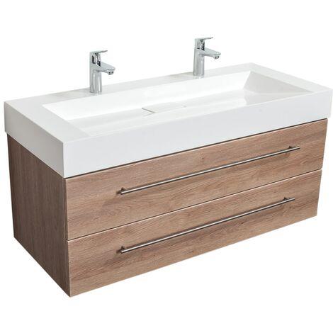 Meuble double vasque Design 1200 décor chêne