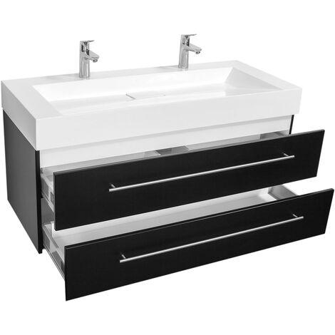 Meuble double vasque Design 1200 noir satiné