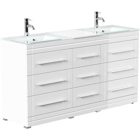 Meuble double vasque en verre Vitro moderne à poser en blanc brillant