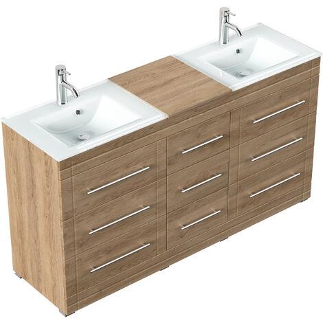 Meuble double vasque en verre Vitro moderne à poser en décor chêne