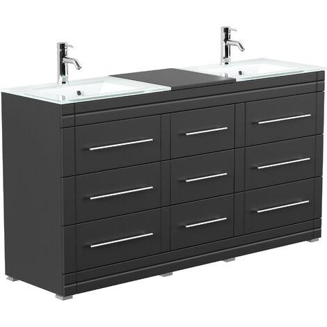 Meuble double vasque en verre Vitro moderne à poser en noir satiné
