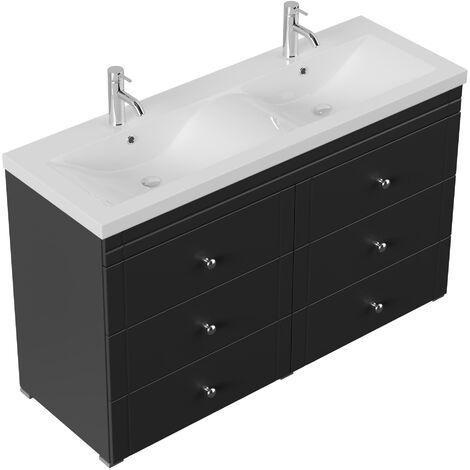 Meuble double vasque Gallo classique noir satiné à poser