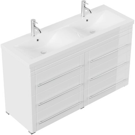 Meuble double vasque Gallo moderne blanc brillant à poser