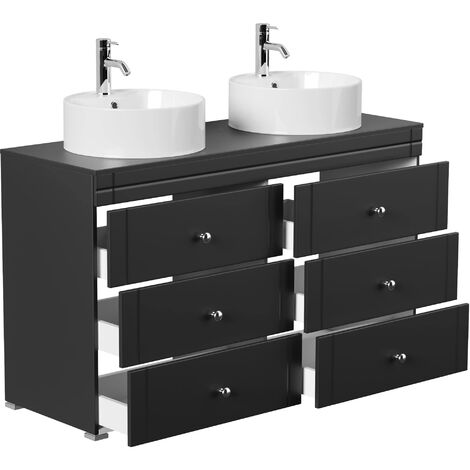Meuble double vasque Memoria classique noir satiné à poser