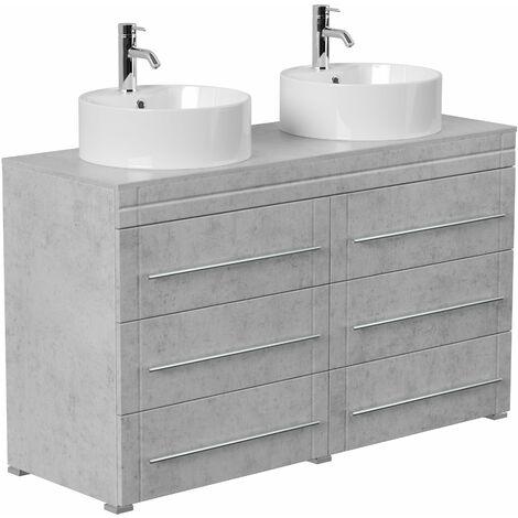 Meuble double vasque Memoria moderne Aspect Béton à poser