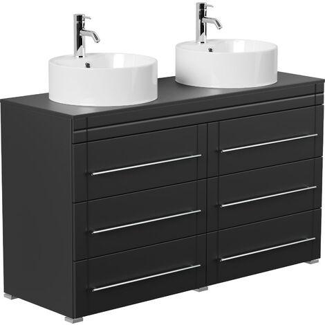 Meuble double vasque Memoria moderne noir satiné à poser