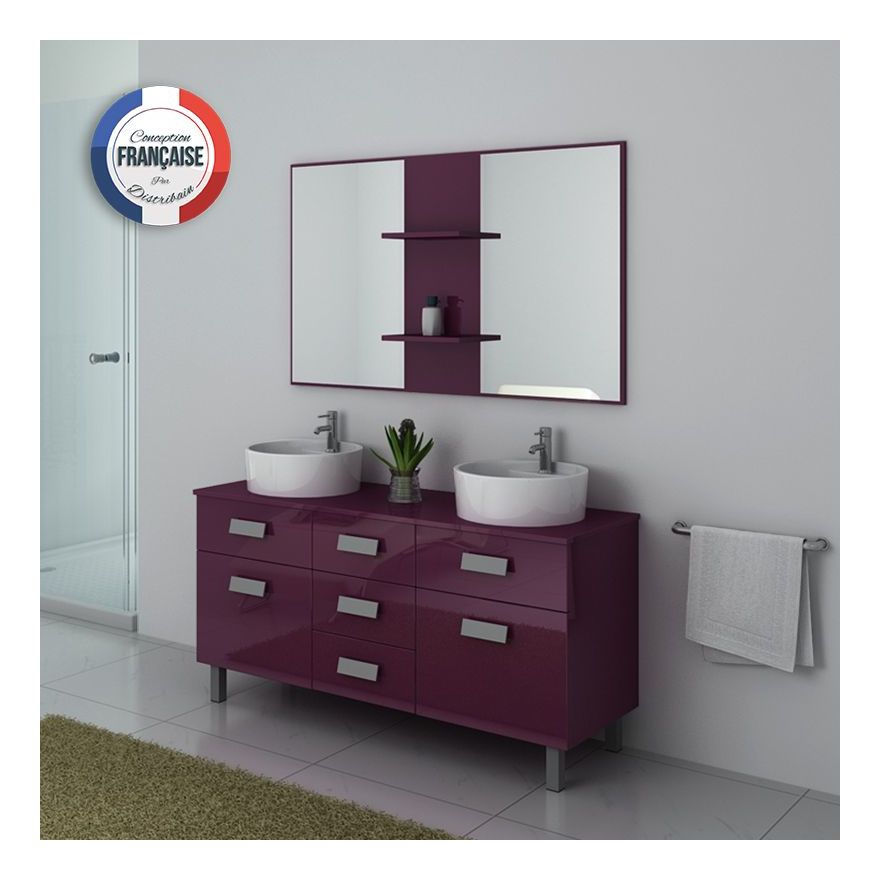 meuble double vasque sur pied dis911 aubergine. Black Bedroom Furniture Sets. Home Design Ideas