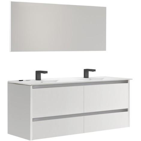 Batinea - Meuble de salle de bain Lena, Blanc, 100 - double vasques ...