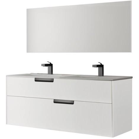 Meuble double vasques 120 x 45 cm 4 tiroirs Batinea Noa