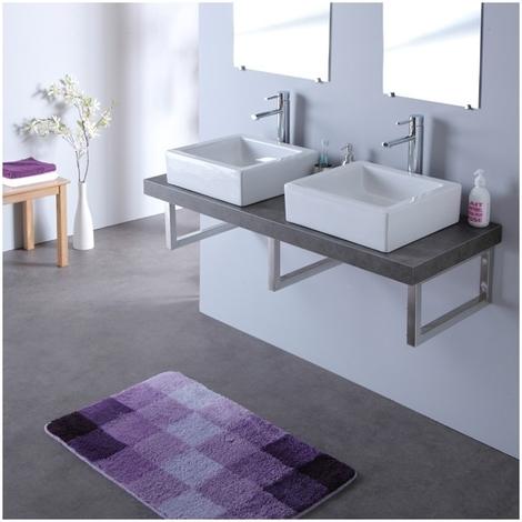 Meuble double vasques avec vasques elec blanche 120 cm couleur béton