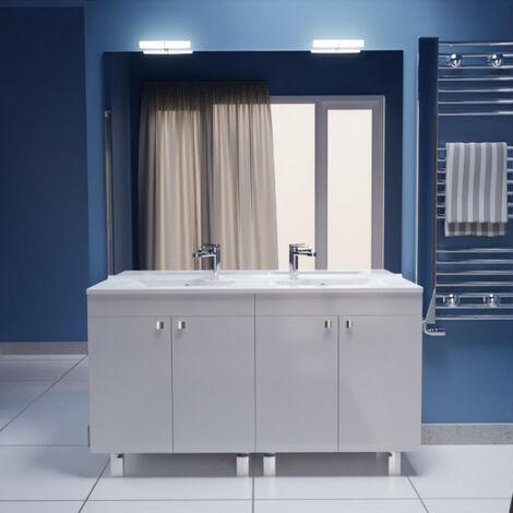 Meuble ECOLINE 140 cm avec plan vasque et miroir - Blanc brillant