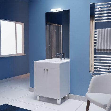 Meuble ECOLINE 60 cm avec plan vasque et miroir - Blanc brillant